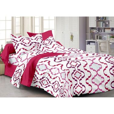 Story @ Home 152 TC 100% Cotton White 1 Double Bedsheet With 2 Pillow Cover-AR1214