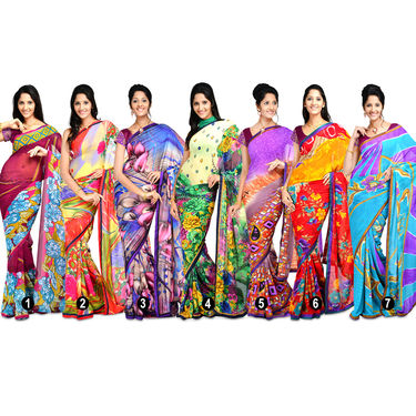 Aadarshini Excellent Set of 7 Georgette Sarees (7G13)