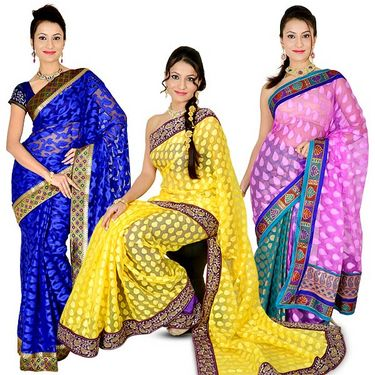Aadarshini Set of 3 Net Jacquard Sarees with Brocade Border (3NJ1)