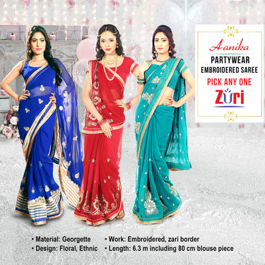 Anika Partywear Embroidered Saree - Pick Any One