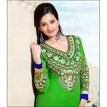Adah Fashions Embroidered Dress Material - Parrot Green