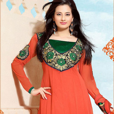 Adah Fashions Embroidered Dress Material - Orange & Green