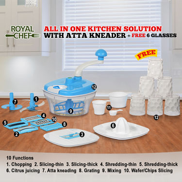 All in One Kitchen Solution with Atta Kneader + Free 6 Glasses