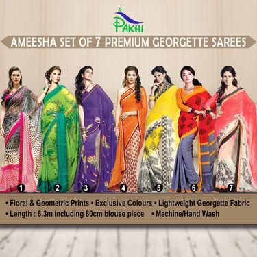 Ameesha Set of 7 Premium Georgette Sarees (7G16)