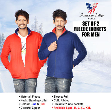 American Indigo Set of 2 Fleece Jackets for Men