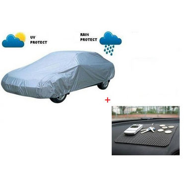 Combo of AutoSun Car Body Cover for Maruti Suzuki Zen Estilo - Silver + Non Slip Mat