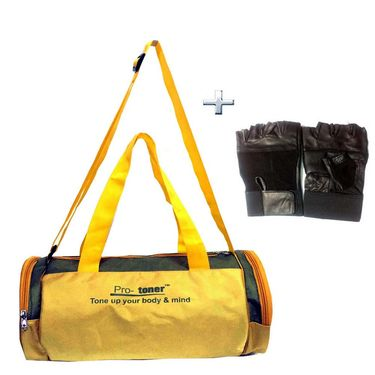 Combo of Protoner Gym Bag - Aussy Colors Plain With Gloves