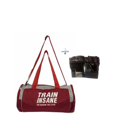 Combo of Protoner Gym Bag - Train Insane or Remain The Same With Gloves