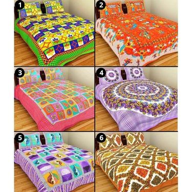 Set of 6 Pure Cotton Double BedSheet With 12 Pillow Covers-GRJ-6DB