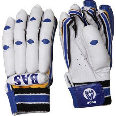BAS Vampire  (Size-L) V2000 Batting Glove-White And Blue - BG63
