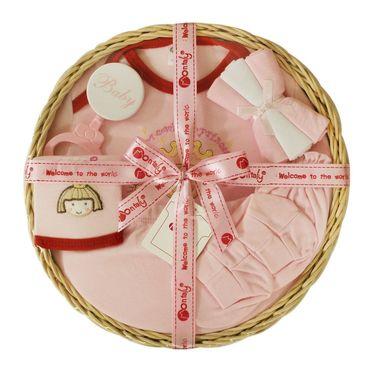 Montaly Circle Shape 9 Piece Baby Gift Set - Pink
