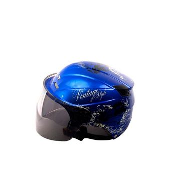 Autofurnish (BT-1003) Bullit Trendy Helmet with Vintage Graphics (Blue) - Smoke Black Glass-BT-1003