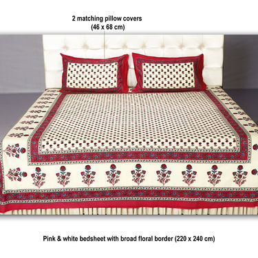 Barmeri 4 Double & 4 Single Bedsheets with 12 Pillow Covers (4DSBS14)