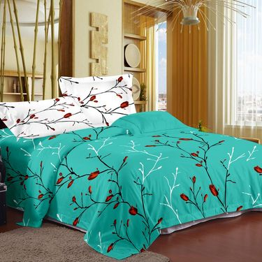 Storyat Home 100% Cotton Double Bed Sheet With 2 Pillow Covers-MT1213