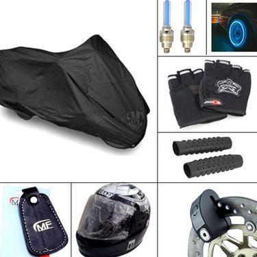 Combo of Bike Body Cover & Helmet + Bar Grip + Riding Gloves + Disc Lock + Key ring + LED Lights