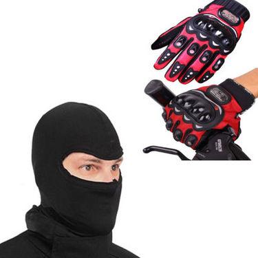 Combo of Bikers Balaclava Headwear + Riding Gloves