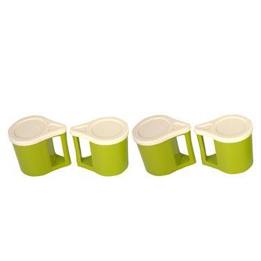Kitchen duniya set of 4 bliss coffee mugs trendy green for Kitchen set naaptol