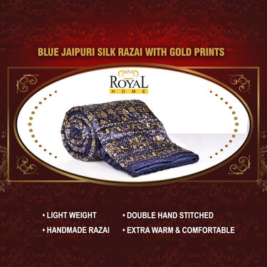 Blue Jaipuri Silk Razai with Gold Prints