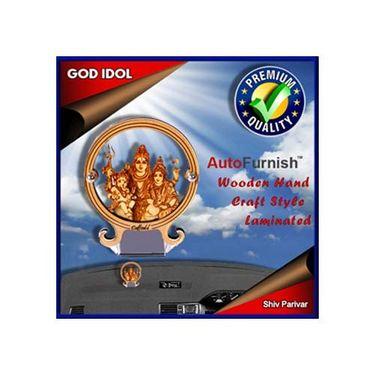 Branded God Idol Shiv Parivar Dashboard Wooden Hand Craft Style