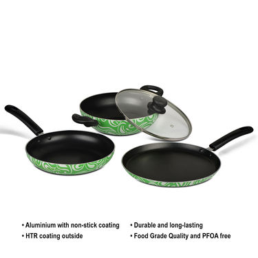 Brilliant 4 Pcs Printed Non Stick Cookware
