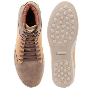 Randier Synthetic Leather Brown & Tan Sneakers -Cfl004