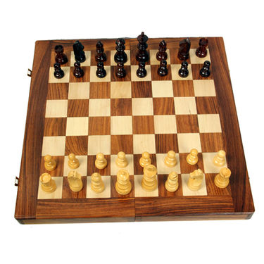 AVM 46cm Folding Chess Board Set (6.3cm Border, Brown Yellow)