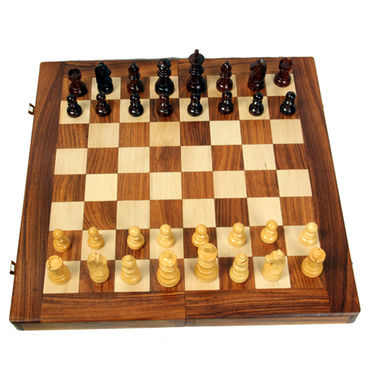 AVM 41cm Folding Chess Board Set (6cm Border, Brown Yellow)