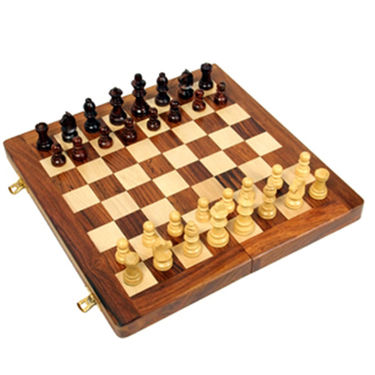 AVM 36cm Folding Chess Board Set (5cm Border, Brown Yellow)