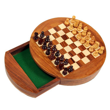 AVM 9inch Round Magnetic Chess Board Set with Drawer (1.5 inch Border, Brown Yellow)