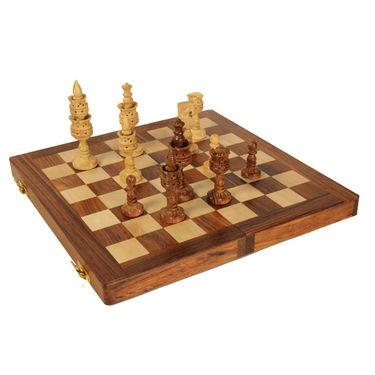 AVM 10cm Lotus Shape Chessmen (11cm Border, Brown Yellow)