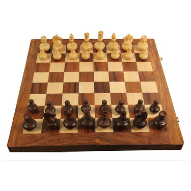 AVM 8cm Apple Chessmen (8cm Border, Brown Yellow)