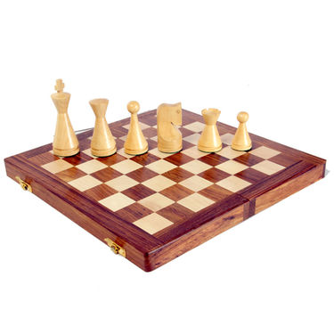 AVM 10cm Modern Chessmen 10cm Chess Board Brown Yellow)