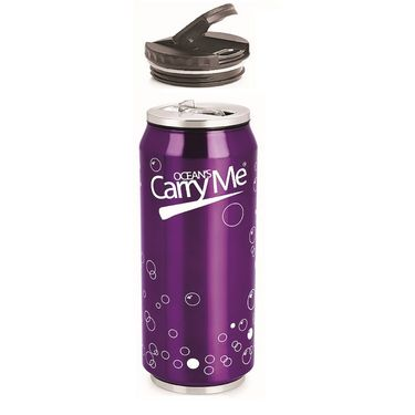 CarryMe Sippie Hot & Cold Thermo Can with Sipper & Extra Lid 500 ml - Purple