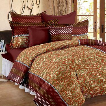 Set of 5 100% Cotton 5 Double Bedsheet With 10 Pillow Cover