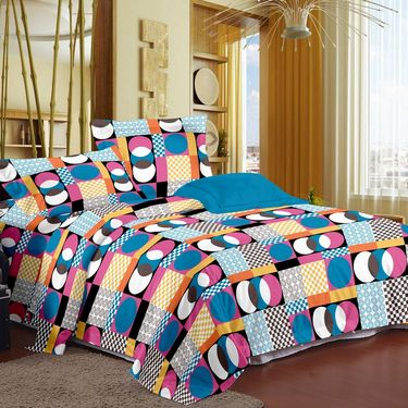 Story @ Home 120 TC 100% Cotton Blue 1 Double Bedsheet With 2 Pillow Cover-CN1207