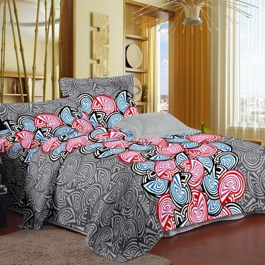 Story @ Home 120 TC 100% Cotton Multi Color 1 Double Bedsheet With 2 Pillow Cover-CN1210
