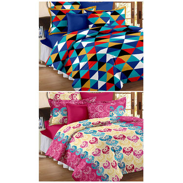 Set Of 2 Double Bedsheet With 4 Pillow Cover-CN_1222-PL1101