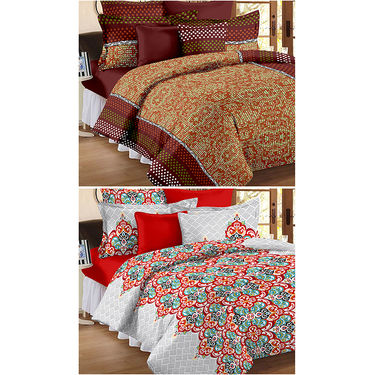 Set Of 2 Double Bedsheet With 4 Pillow Cover-CN_1233-CN1266