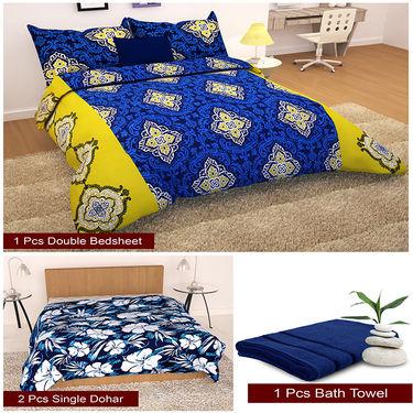 Storyathome Combo Of 1 Pc Cotton Double Bedsheet With 2 Pillow Cover, 2 Single Dohar/AC Micro Fiber Quilt , 1 pc Cotton Bath Towel-CN_1428-FB_2-1223S-TW1216-X