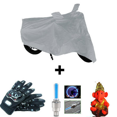 Combo of Bike Body Cover + ProBiker Gloves + Flash Wheel Lights + Hanging Ganesha for Bajaj Pulsar 180 DTS-i COMBOBKSilver-BJPLSR