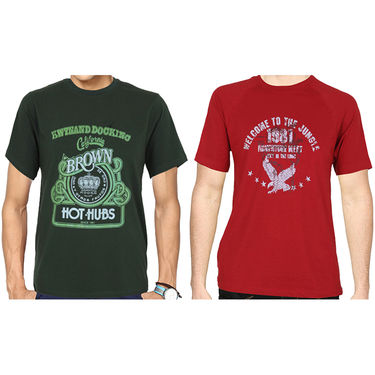 Pack of 2 Blended Cotton Tshirts For Men_Combo 3 - Red & Green