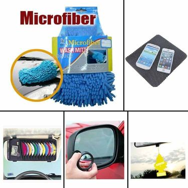 Combo of DVD Holder, Freshner, Blind Spot Mirror,Car Micro Fibre Gloves  and Non-Slip Dash