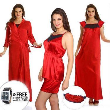 Clovia Satin Plain Nightwear - Red - NS0271E04