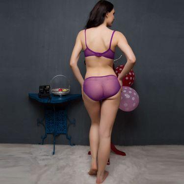 Clovia Nylon Lace Plain Nightwear - Multicolor - NS0274C99