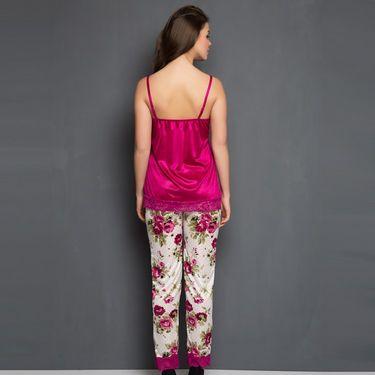 Clovia Satin Printed Nightwear - Pink - NS0327P22