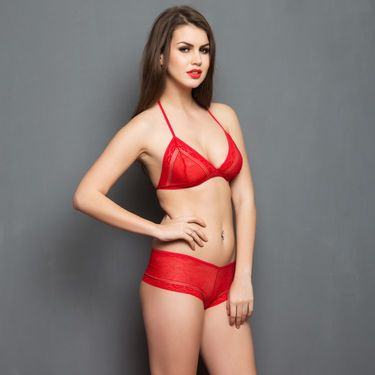 Clovia Nylon Lace Plain Nightwear - Red - NSC315P04