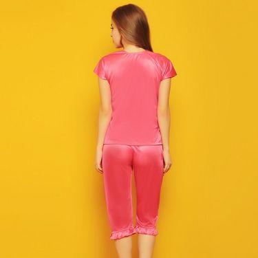Clovia Satin Plain Nightwear - Pink - NSM236G22