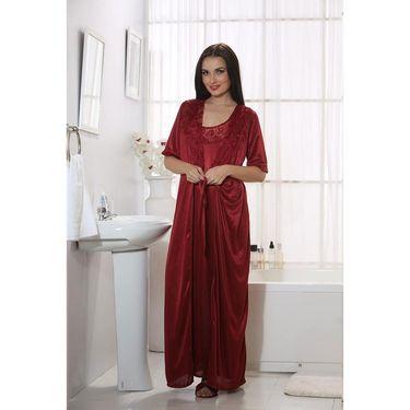 Clovia Satin Plain Nightwear - Maroon - NSM267G09