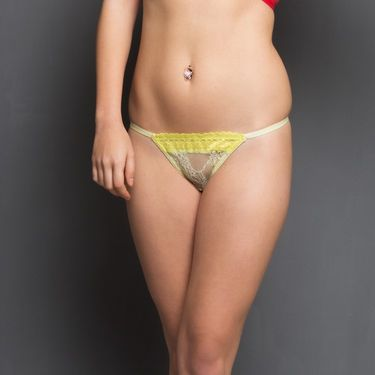 Clovia Nylon Lace Plain Brief - Lemon - PN0125Q89