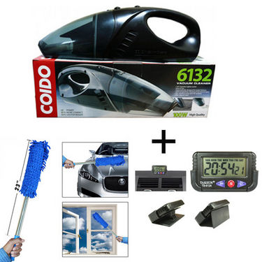 Combo of Coido Car Vacuum Cleaner + Multipurpose Duster + Car Dashboard/Office Desk Alarm Clock + Stopwatch